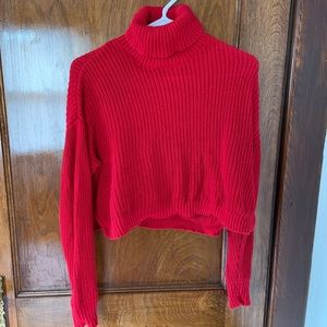 Forever 21 Cropped Red Turtleneck Sweater